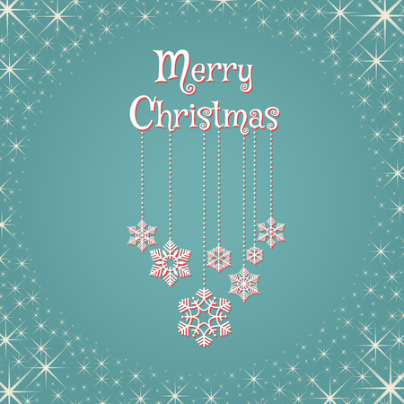 Christmas postcard design with lettering Merry Christmas and garlands with snowflakes. Vector illustration