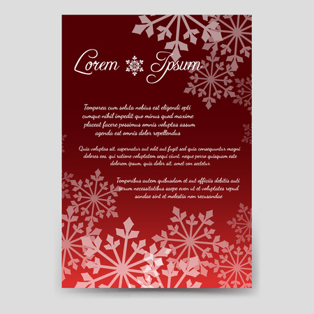 esp cards: Winter brochure flyer template design in A6 size with snowflakes. Vector illustration