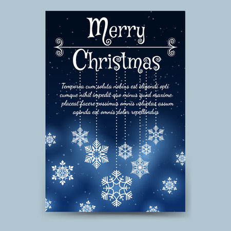a6: Winter brochure flyer template in A6 format. Christmas poster or flyer with snowflakes vector illustration