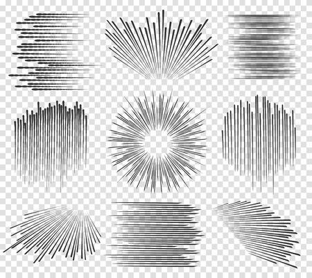 スピード ラインまたは透明な背景に高速線漫画モーション。ベクトル図