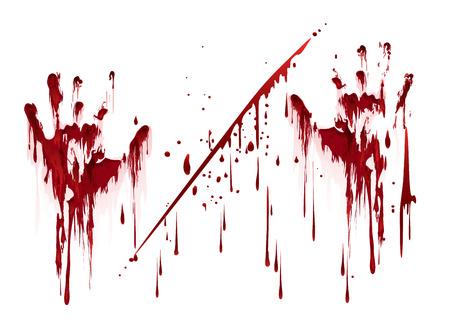 Stampe sanguinose a mano con gocce di sangue. Illustrazione vettoriale