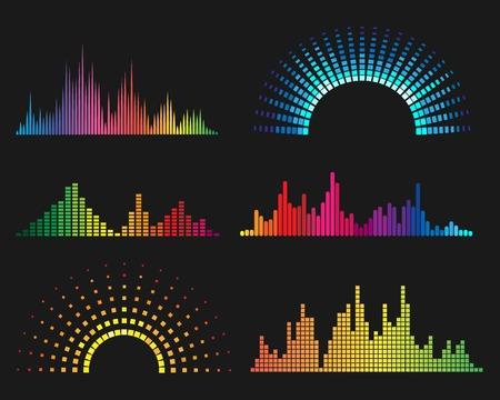音楽のデジタル波形。イコライザーの音の波のベクトル図