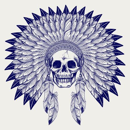 native american headdress: Ball pen sketch skull and native american headdress vector