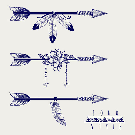 Boho style arrows with feathers and flowers design. Vector illustration Ilustração