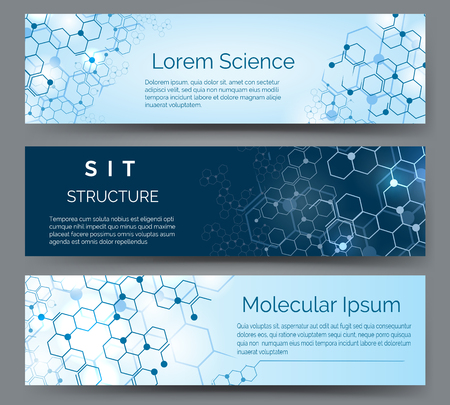 Molecular structure horizontal banners. Science, medical or chemistry atom model abstract vector background