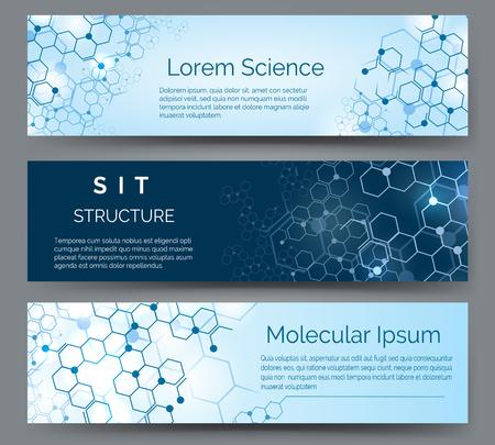 Horizontale banners met moleculaire structuur. Wetenschap, medische of chemie atoommodel abstracte vectorachtergrond