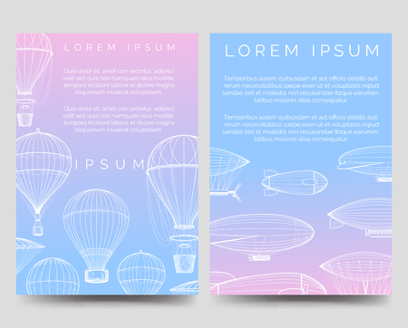 Brochure flyers template with hot air balloons and airships in the sky. Vector illustration