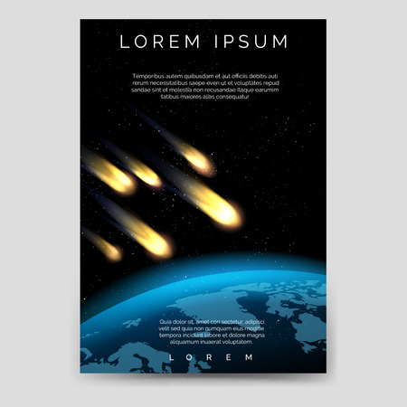 a6: Brochure flyer template with meteor shower and globe map vector, A6 size