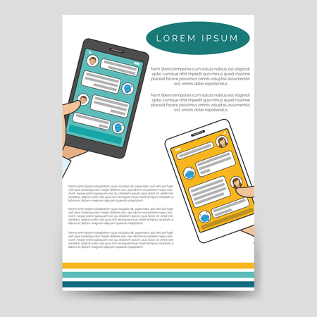 bot: Brochure template design vector. Chat bot connected flyer for A6
