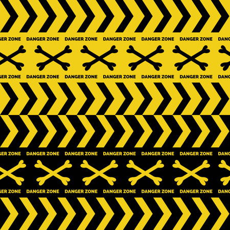 restricted area sign: Danger tapes seamless borders with boness cross vector