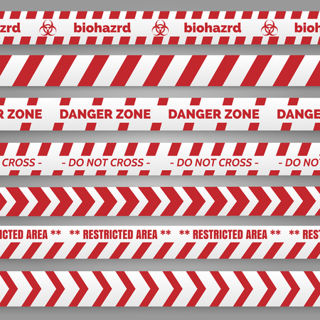 cordon: Danger tapes set vector illustration. Red and white tapes collection
