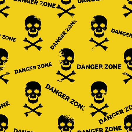 glum: Danger zone seamless pattern. Grunge skull crossbones background vector