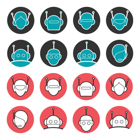 bot: Robot head vector collection. Chat bot icons set
