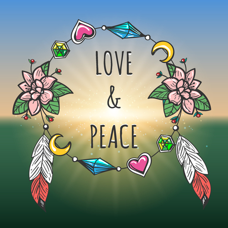 Love and Peace emblem drawn in tribal boho style. Vector illustration Illustration