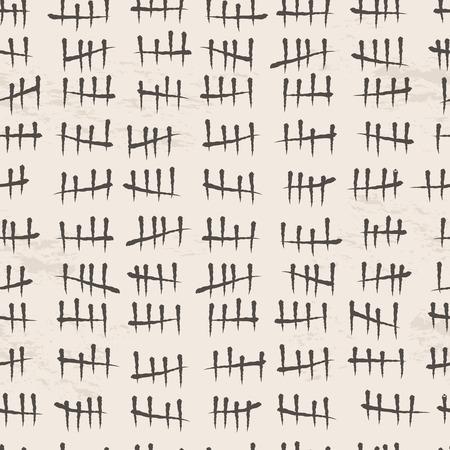Black line tally marks seamless background. Vector illustration