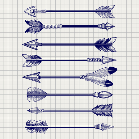 feathery: Hand drawn feathery arrows sketch on notebook page. Vector illustration