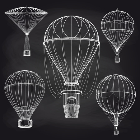 Hand drawn chalk hot air balloons parade on chalkboard background. Vector illustration