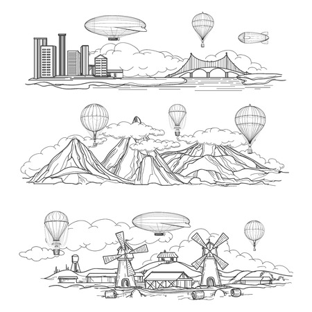 parade: Hand drawn urban country and mountain landscapes with hot air balloons and airships parade. Vector illustration Illustration
