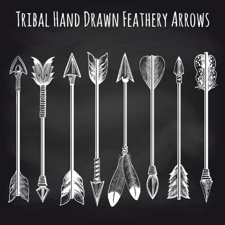 feathery: Hand drawn feathery arrows collection on chalkboard background. Vector illustration