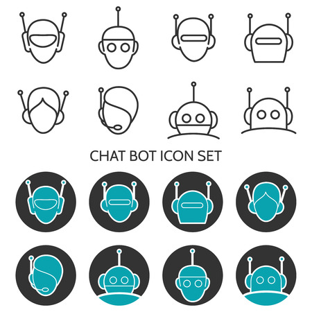 Chat bot icons set vector. Robots head icons Vettoriali
