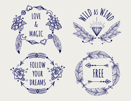 Boho tribal style   set with feather hearts arrows and lettering vector
