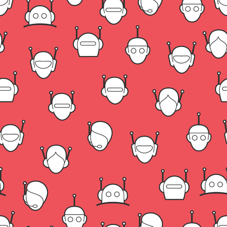 robo: Chat bot seamless pattern. Robots heads background vector Illustration