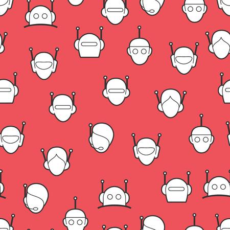 conversational: Chat bot seamless pattern. Robots heads background vector Illustration