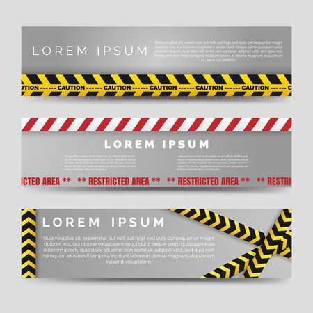 Horizontal banners templates with yellow and white danger tapes vector Çizim