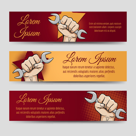 la union hace la fuerza: Labor day banners vector set. Horizontal banners with working hand and wrench
