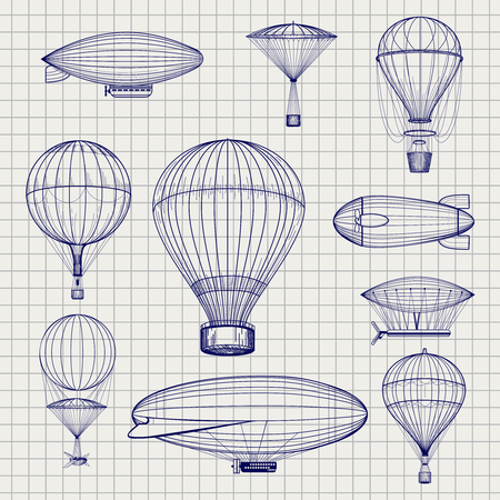 blimp: Hand drawn air hot balloons and airship zeppelins sketch on notebook page. Vector illustration