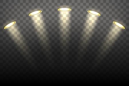 spot light: Spot lights on transparent background. Illmination vector illustration