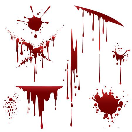 流血の恐怖のだらしないスプラッタ。白い背景で隔離の塊をこぼしたりと、血液が値下がりしました。ベクトル図