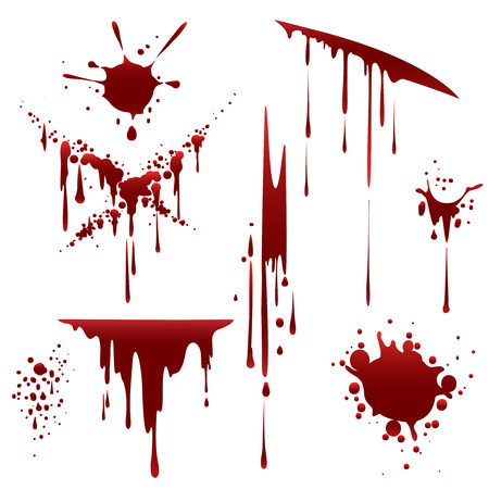 Bloody horror scruffy splatter. Blood drops, splashes and clots isolated on white background. Vector illustration