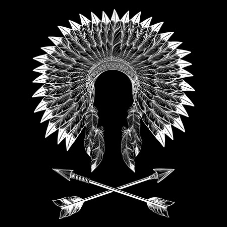 chieftain: Native american indian war bonnet and arrows. Vector illustration Illustration