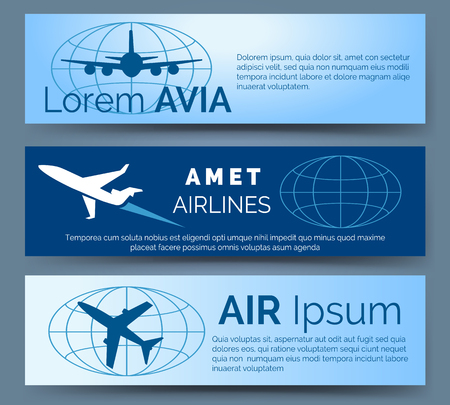 vector banners or headers: Airlines company headers set. Blue banners with aircrafts vector illustration