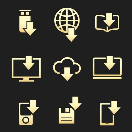 syncing: Different devices downloading data set on black background vector icons Illustration