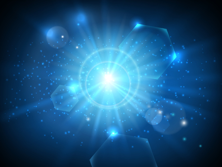 bright sun: Glowing blue star in space background vector illustration