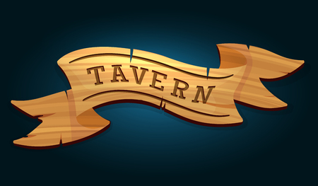 Tavern wooden signboard on dark blue background vector illustration Illustration