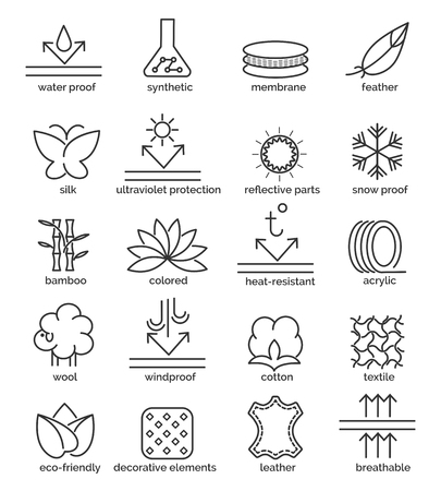 Vector fabric feature icons. Cotton and wool, waterproof and UV-protection signs