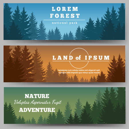 pine trees: Green pines forest horizontal banners with pine trees vector illustration