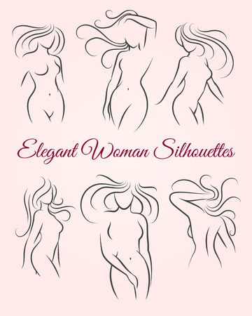 long haired: Six elegant long haired woman silhouettes drawn in a linear sketch style. For intimate hygiene and woman health, skin and hair and body caredesign. For diet and fitness illustration. Vector icons