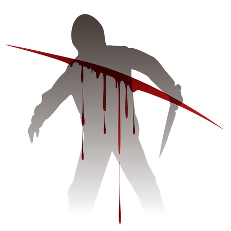 Killer silhouette with knife against blood splashes. Vector illustration Ilustração