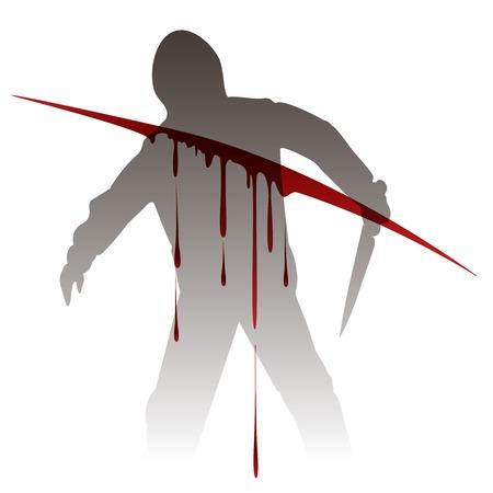 Killer silhouette with knife against blood splashes. Vector illustration Vettoriali
