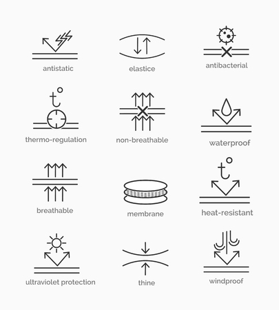 elastic garments: Fabric properties and garment material features icons. Vector illustration