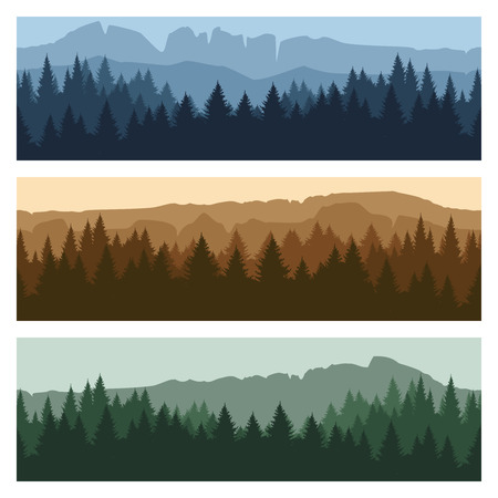 peaks: Outdoor rocky landscape background with forest and mountains. Vector mountain peaks and trees panorama banners