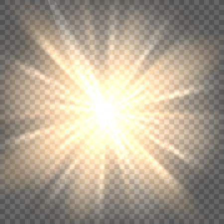 サンバーストのアイコン。太陽光線透明な背景のベクトル イラスト