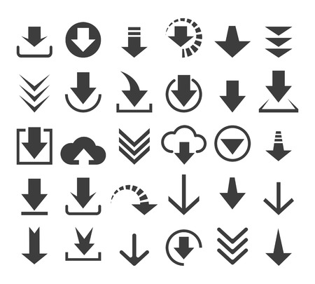 down load: Download file icons or vector down load arrows signs