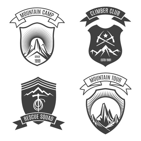 alpinism: Mountains retro badges for national parks and alpinism signs. Natural outdoor travel vintage mountain label set. Vector illustration