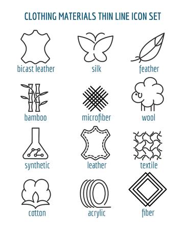 Kledingmaterialen dunne lijn iconen. Lijnen voor katoen en zijde, vezels en bamboestoffen. Vector illustratie