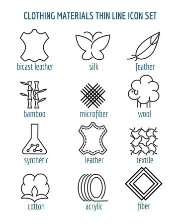 Clothing materials thin line icons. Cotton and silk, fiber and bamboo fabric linear signs. Vector illustration